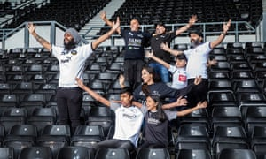 Members of the Punjabi Rams football supporters' club in the East Stand of Derby County's Pride Park ground. Pictured clockwise from left - Vik Singh Dosanjh, Balbir Singh Samra, Jaz Basra, Kal Singh Dhindsa with son Raman(8years), Reena Talwar with son Kian(13 years) and Jaya(10)