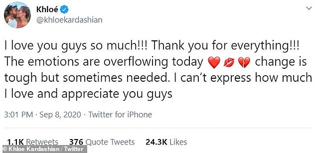 Emotional: Khloe poured her heart out on Twitter following the news