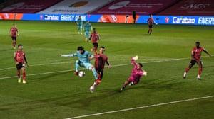 Minamino scores Liverpool's fifth.