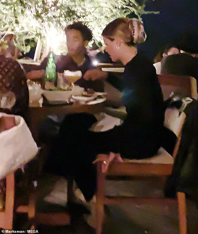 Tight bond:Numerous times throughout the dinner, Jaden and Sofia leaned in close to one another to chat