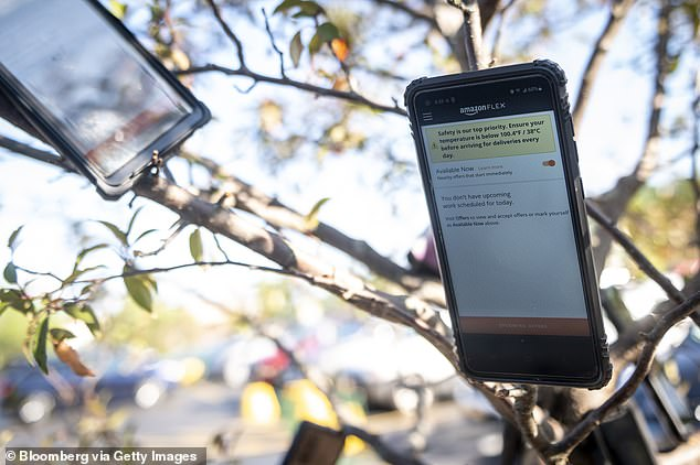 The devices belong to contractors of the Amazon Flex app, which chooses drivers to carry out deliveries based on proximity to the grocery store – giving those with a device in the tree first dibs at a new order
