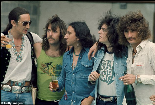 Last request: In 2018, Kerslake requested Osbourne send him platinum records for his contributions after being given eight months to live. Osbourne sent them in January 2019; Kerslake (second to left) with Uriah Heep in 1973