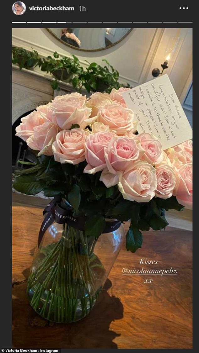 Love:  She also receoved a bouquet of roses from eldest son Brooklyn's fiancée Nicola Peltz alongside a sweet note