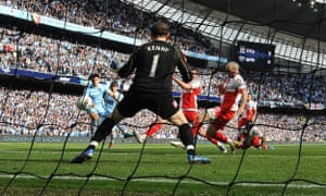 Paddy Kenny is powerless to stop Sergio Agüero scoring the goal that gave Manchester City the league title in 2012