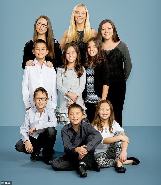 On Thursday Jon's ex-wife Kate waded in telling People magazine she had been notified by the County of Berks, Pennsylvania Child & Youth Services that Jon was under investigation over the incident. Pictured: Kate with her and Jon's children, twins Mady and Cara (back row); sextuplets Collin, Leah, Hannah (l-r middle row), Aaden, Joel and Alexis (l-r front row)