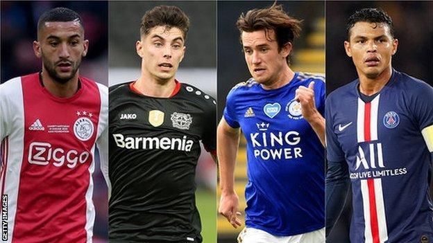 Chelsea's Hakim Ziyech, Kai Havertz, Ben Chilwell and Thiago Silva