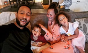 Chrissy Teigen's Instagram snap of her family relaxing during lockdown.