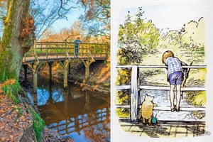 Pooh Sticks Bridge in Ashdown Forest, and EH Shepard's illustration of it in AA Milne's Winnie the Pooh.