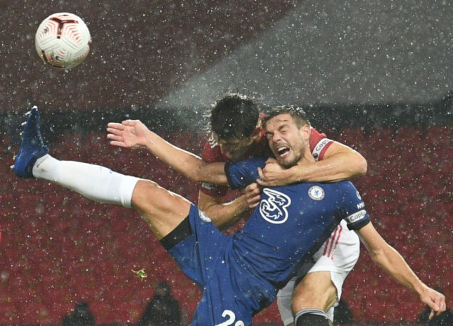 Harry Maguire appeared to foul Cesar Azpilicueta inside Manchester United's box against Chelsea