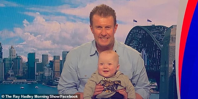 So sweet:Peter Overton made a little boy's dream come true on Tuesday. The veteran newsreader, 54, invited one of his biggest fans - Mason, one, to join him onto the Nine News set. Both pictured