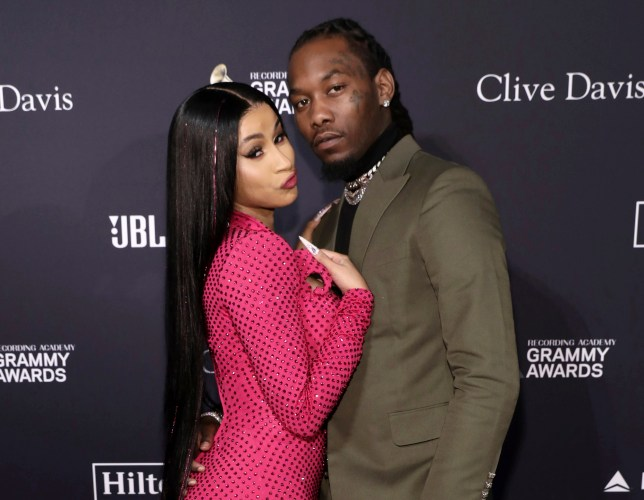 Cardi B, left, and Offset arrive at the Pre-Grammy Gala And Salute To Industry Icons in Beverly Hills, Calif. on Jan. 25, 2020