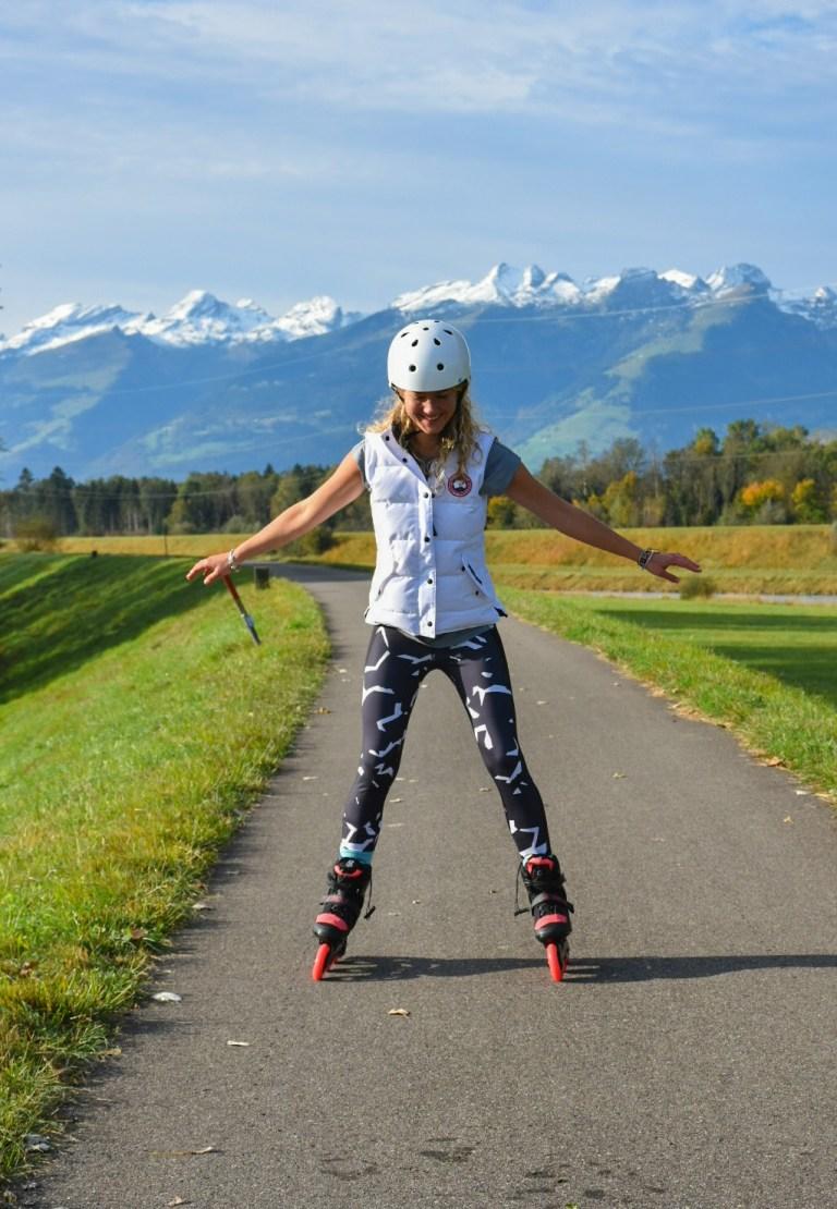 Sadie before setting off to skate the length of Liechtenstein (Picture: Sadie Whitelocks)
