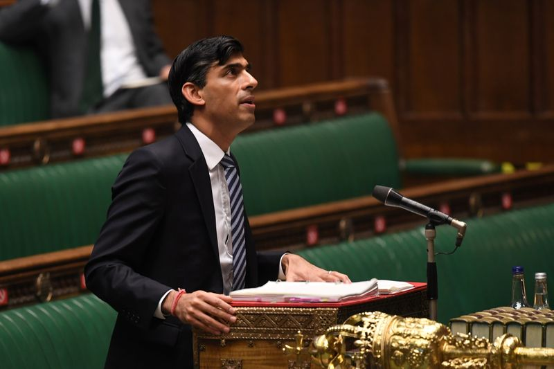 © Reuters. Britain's Chancellor of the Exchequer Rishi Sunak speaks at the House of Commons in London