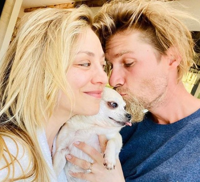 Kaley Cuoco and Karl Cook and dog Dumpy