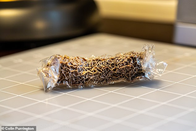 The 'mummified' Twinkie Purrington sent to Kasson and Lowell. They'll keep testing it for an identifiable fungus, and will put it under a scanning electron microscope, which will magnify it more than 100 times
