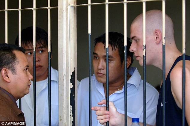 Desperate: Three members of the Bali Nine, (from left) Si Yi Chen, Tan Duc Thanh Nguyen, and Matthew Norman, are pictured before their sentencing on February 15, 2006. All three men received life sentences without the possibility of parole, andNguyen died of cancer in 2018