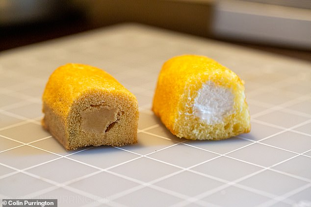 """The Twinkie Purrington bit out of (left) next to a new Twinkie. """"The biggest difference is that the cream filling has browned and constricted a bit, leaving air gaps,"""" he said"""