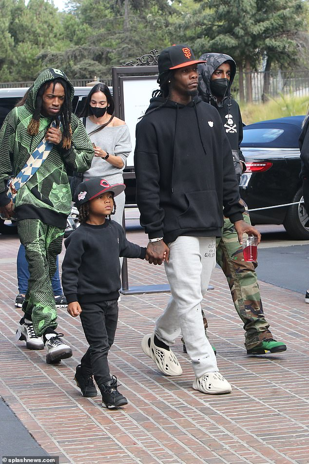 Entourage:Offset, born Kiari Kendrell Cephus, had a small crew with him as he headed to the Grove