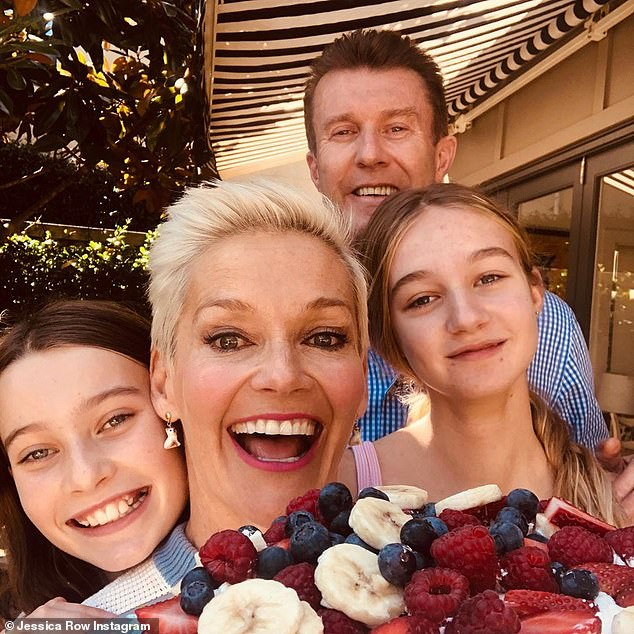 Happy family:Peter has two daughters, Jessica, 13 and 11-year-old Giselle, with his wife of 16 years, former Studio 10 Jessica Rowe. All pictured
