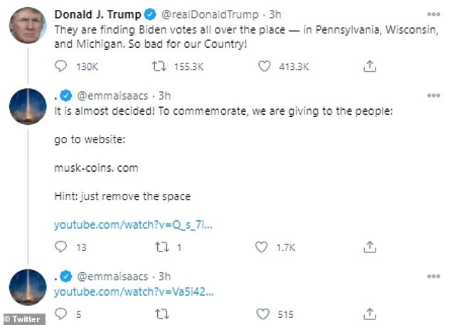 A scammer portraying Elon Musk was spotted in the reply section of Donald Trump's tweets attempting to trick users into handing over cryptocurrency. The verified account surfaced online Wednesday with the display name ¿Elon Musk,¿ and replied to Trump¿s tweets discussing the presidential election