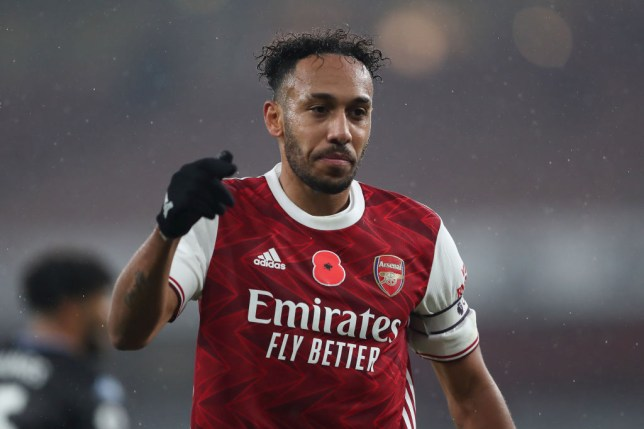 Pierre-Emerick Aubameyang of Arsenal during the Premier League match between Arsenal and Aston Villa at Emirates Stadium on November 8, 2020 in London, United Kingdom. Sporting stadiums around the UK remain under strict restrictions due to the Coronavirus Pandemic as Government social distancing laws prohibit fans inside venues resulting in games being played behind closed doors.