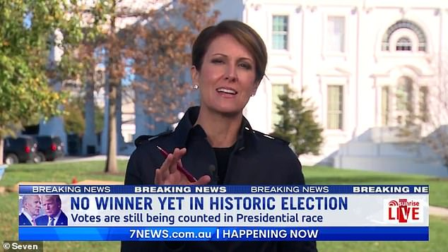 So sleek! Sunrise newsreader Natalie Barr cut a suave figure as she reported from the White House on Thursday morning. She is covering the presidential election in Washington, D.C.