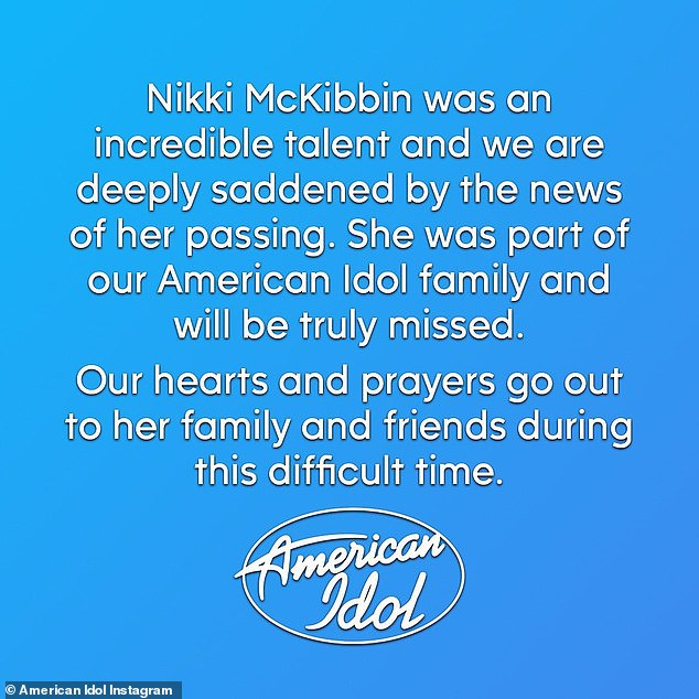 Somber: American Idol released a statement following the news of her death