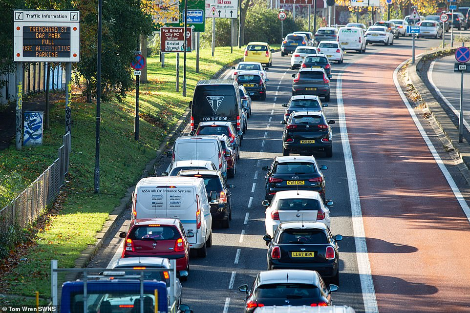 Car parks were full and there were tailbacks as a result of queuing traffic heading in to Bristol city centre today