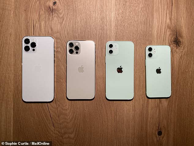 In size order, the 6.7-inch iPhone 12 Pro Max (from £1,099), the 6.1-inch iPhone 12 Pro (from £999), the 6.1-inch iPhone 12 (from £799) and the 5.4-inch iPhone 12 Mini (from £699)