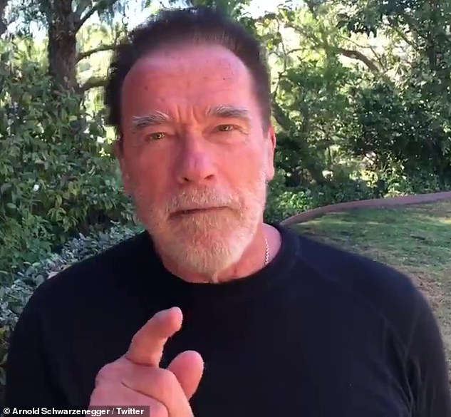 His point: Arnie slammed the fact that 'then the people go, 20,000 or so go to a political rally where someone promises them to make America great'