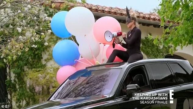 Loud voice: A bullhorn was used by Khloe during the birthday parade