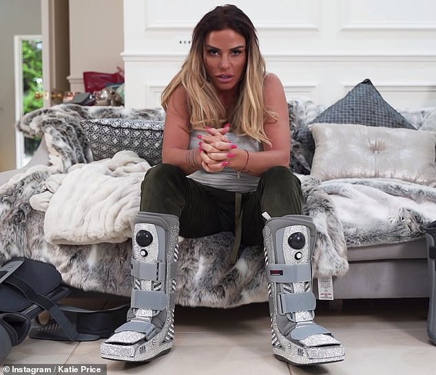 Nearly there! The media personality will reportedly preparing for a crucial scan when she returns to the UK to see whether she'll walk again after breaking both her feet
