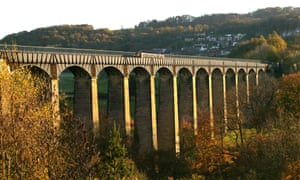 Crossing the Pontcysyllte Aqueduct carrying the Llangollen canal 126 feet above the River Dee,