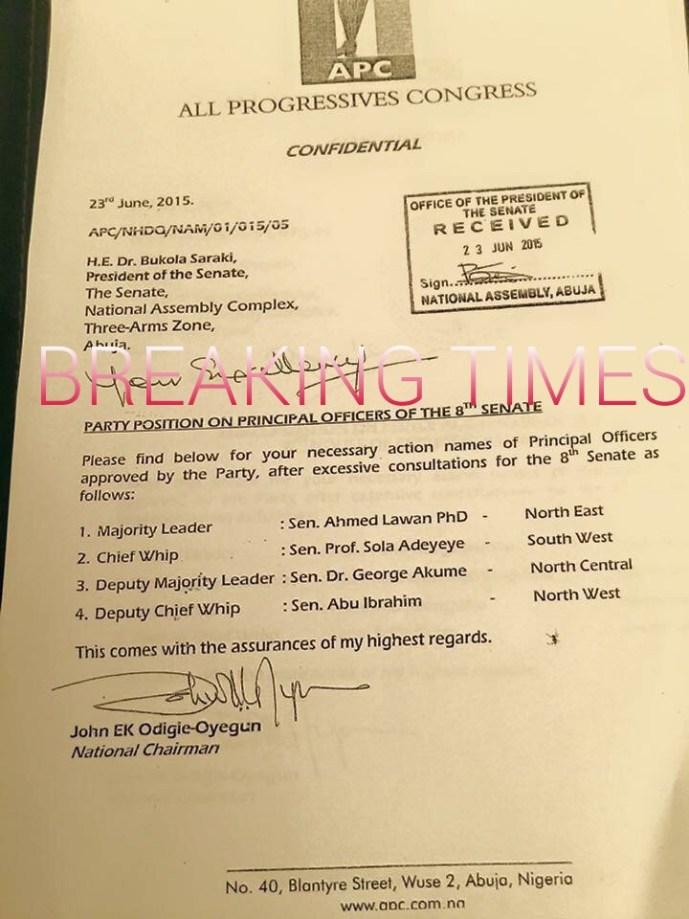 Leaked APC letter to saraki dogara