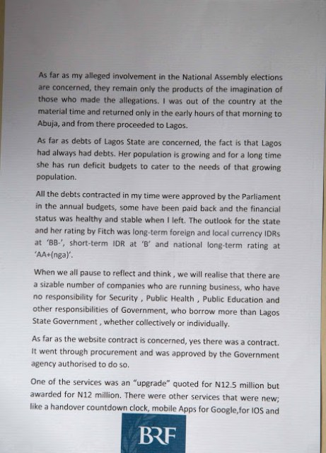 Tunde Fashola Official Statement on Website Allegation