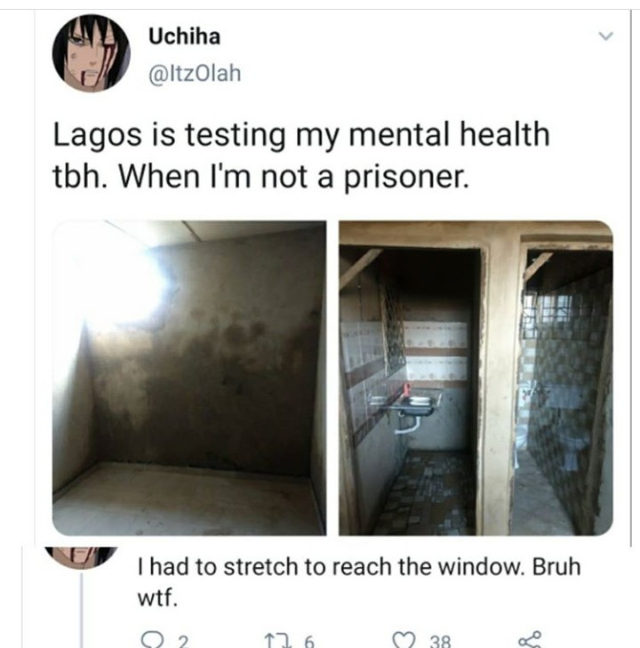 """When I'm not a prisoner"" – Prospective tenant shares photos of a house up for rent in Lagos"