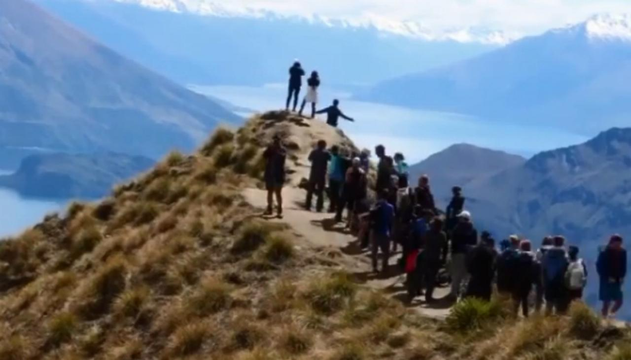 Popular New Zealand tourist destination Roys Peak has