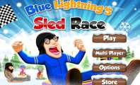 Playing Blue Lightnings Sled Race : Blue Lightnings Sled Race   Downhill Racing Game In The Snowy Mountain