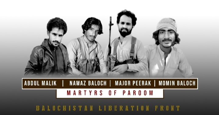 BLF Martyrs who attained martyrdom after valiantly fighting for more than 12 hours with the Pakistani forces at Paroom, occupied Balochistan.