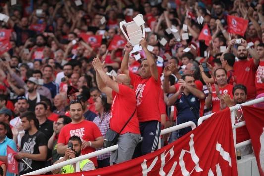 Τελικός Κυπέλλου: Το πανό που ανέβασαν οι οπαδοί του Ολυμπιακού (ΦΩΤΟ)
