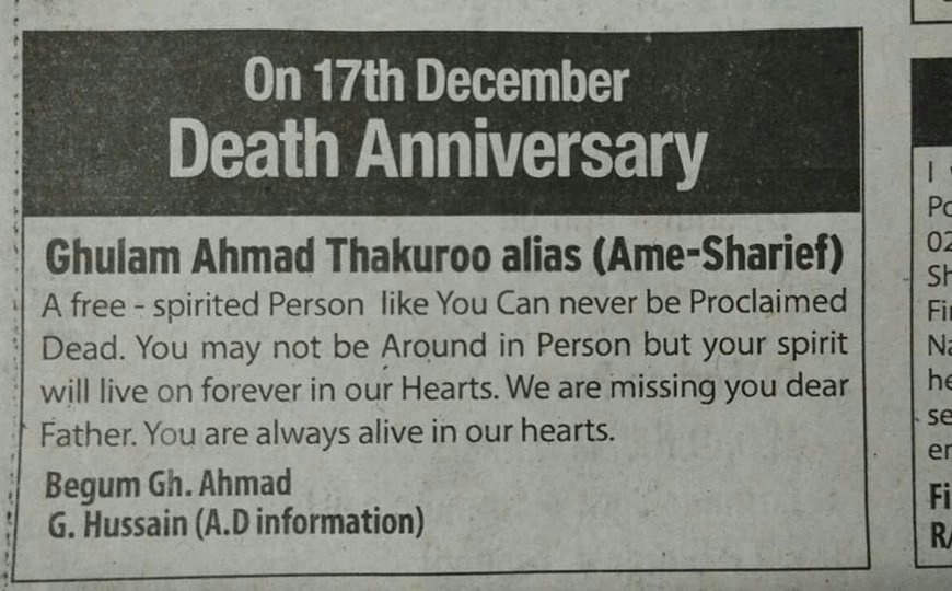 Ghulam Ahmad Thakuroo remembered on Death Anniversary