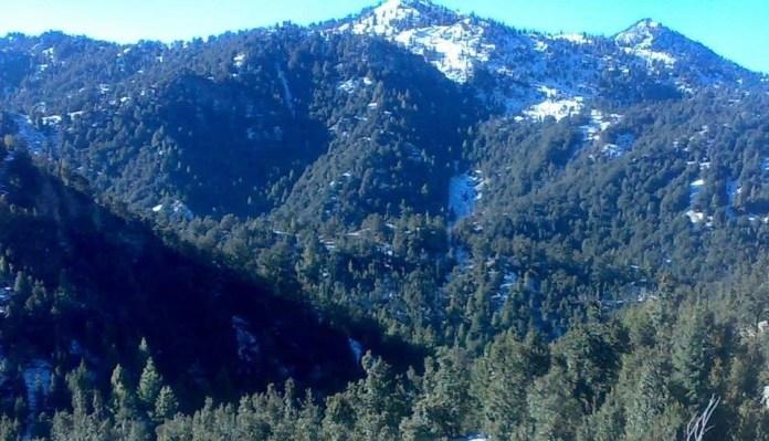 Post-exodus snow covered rich Pirghar hills view in South Waziristan tribal region.
