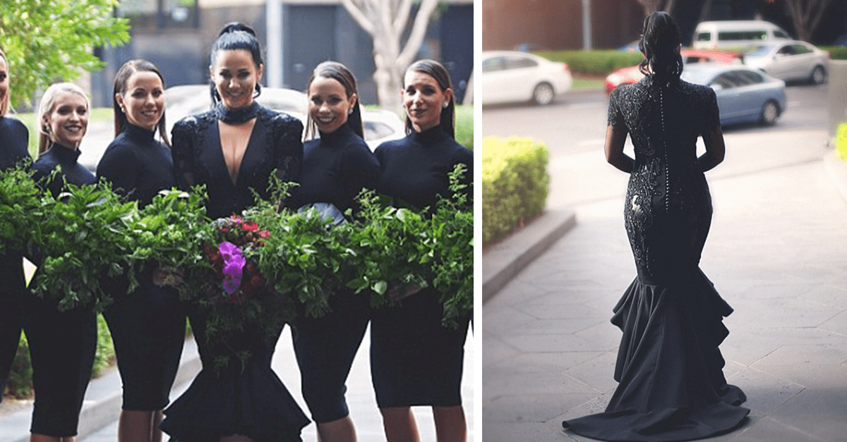 Bride Breaks All Traditions By Wearing Black Dress On Her