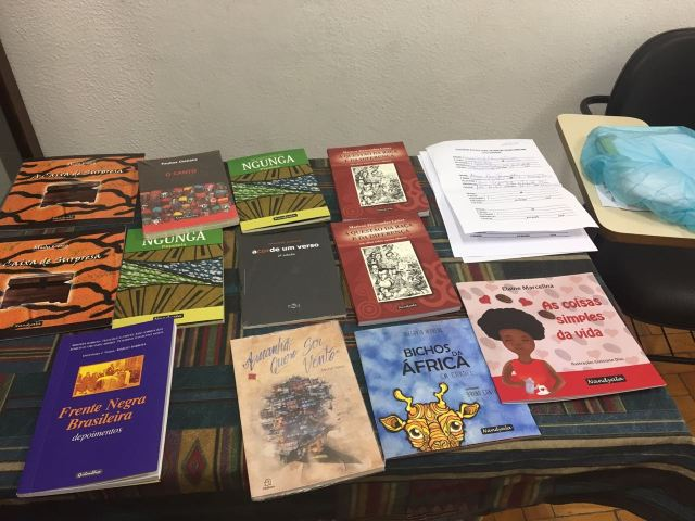 Books of African writers present at the event.