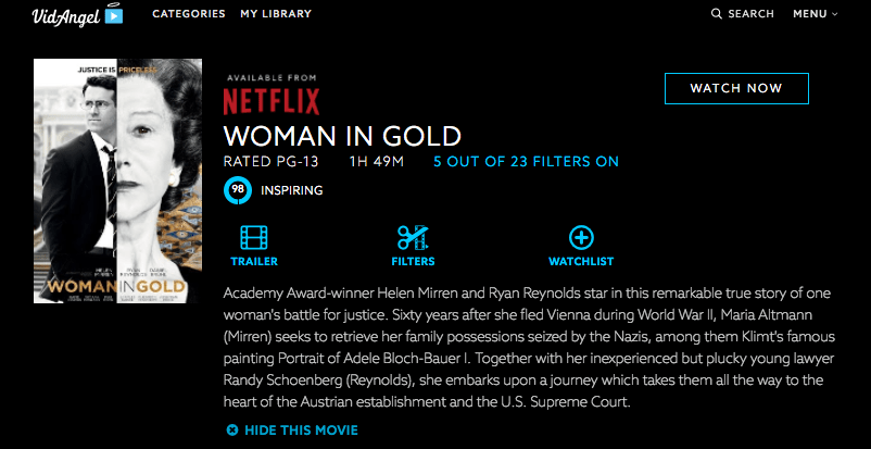 Woman in Gold VidAngel