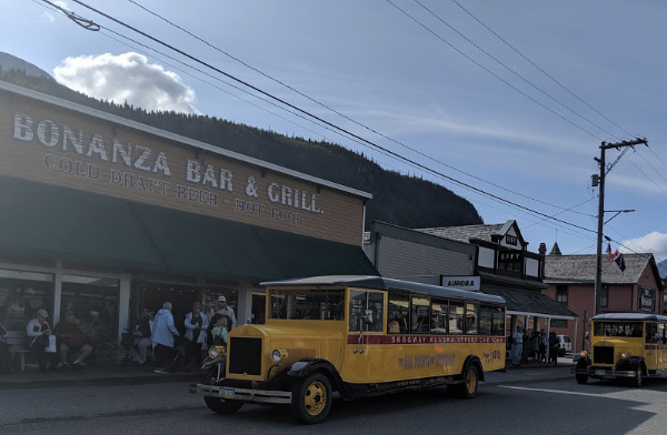 skagway Alaska antique bus
