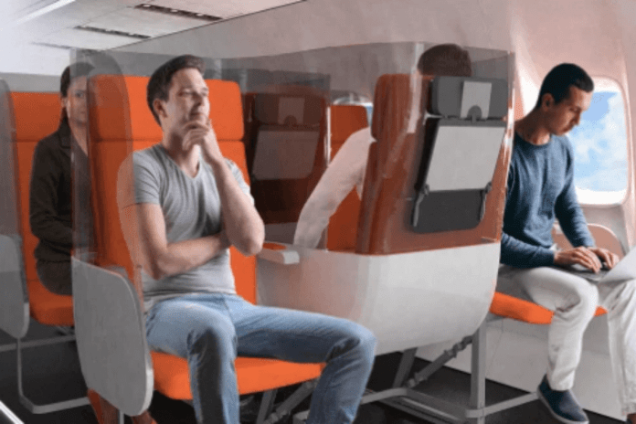 The Janus cabin model that aims to flip the middle seat direction to move passengers away from each other (Photo: Courtesy Avio Interiors)