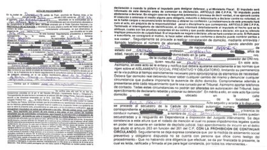 The report kept by Prats, where the kidnapping of the driving record and the ID of the car of Carmen's boyfriend, which happened on Route 76 in the Buenos Aires town of Darragueira, are recorded.