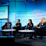 (L-R) Reuters' Reg Chua, BBC News Labs' Susanne Weber, Quartz's Jill Petzinger and Goldsmiths' ‎Miranda McLachlan at newsrewired on February 8, 2017