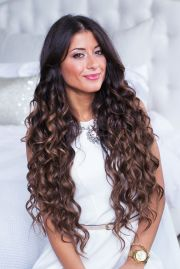 long curly hairdo with extra special